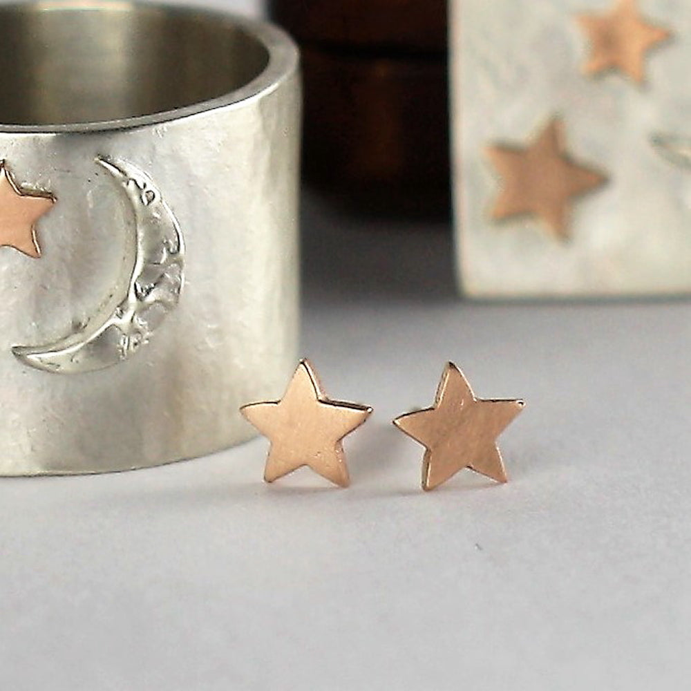 9ct solid Rose Gold Star handmade dainty Earrings