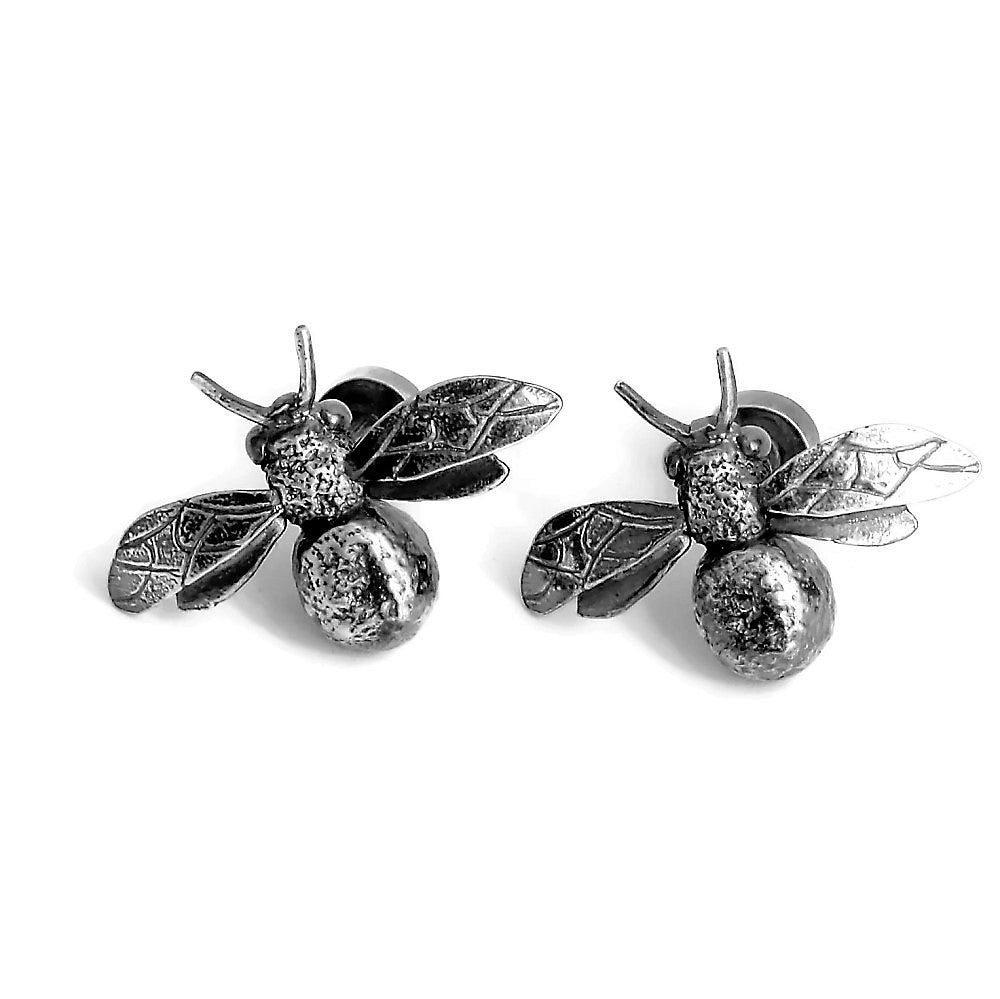 silver bee and citrine gemstone cuff-links