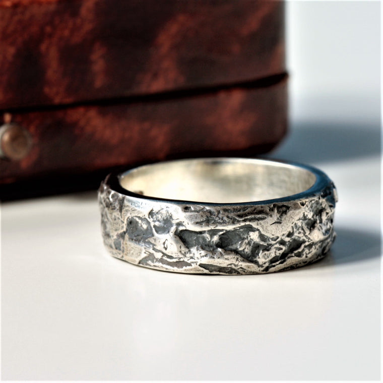 Textured silver wide ring oxidized for a rustic edgy look