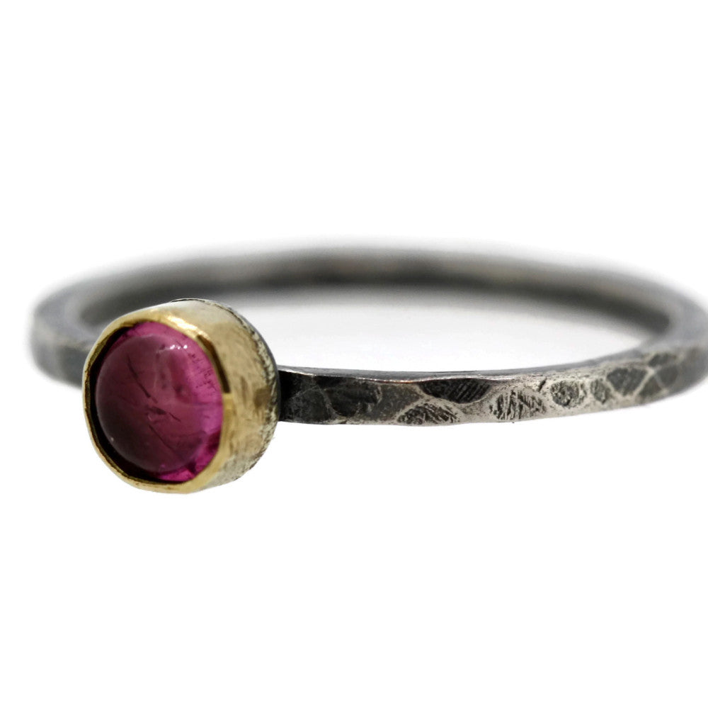 Pink tourmaline hammered silver and gold blossom ring