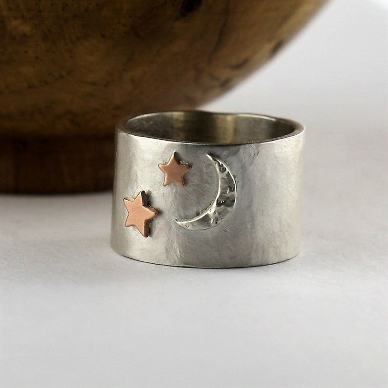 Wide rustic moon and gold star ring