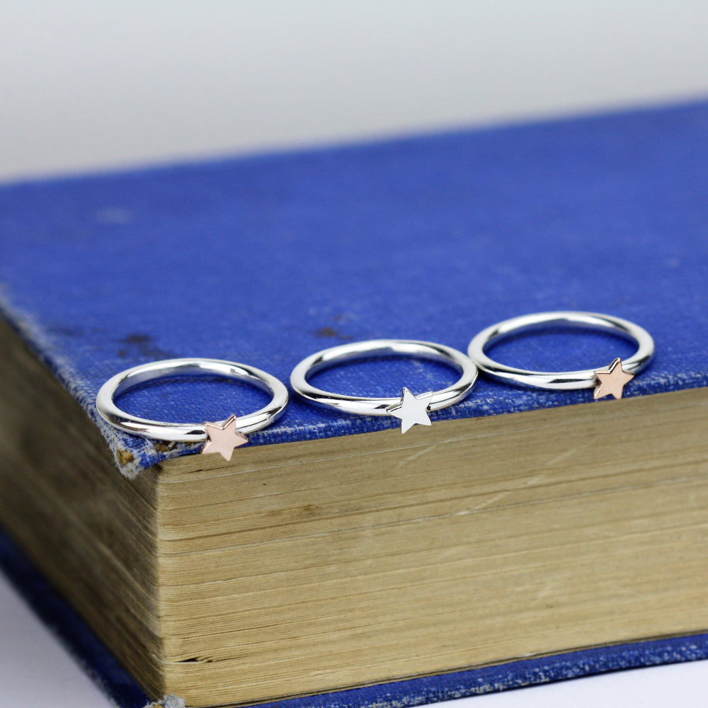 handmade silver and gold star individual stacking rings