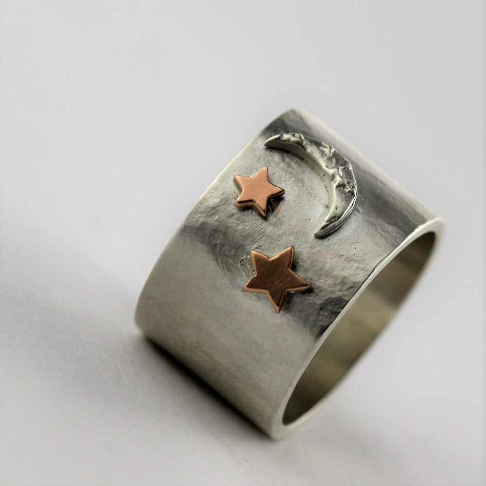 Artisan moon and gold star statement ring