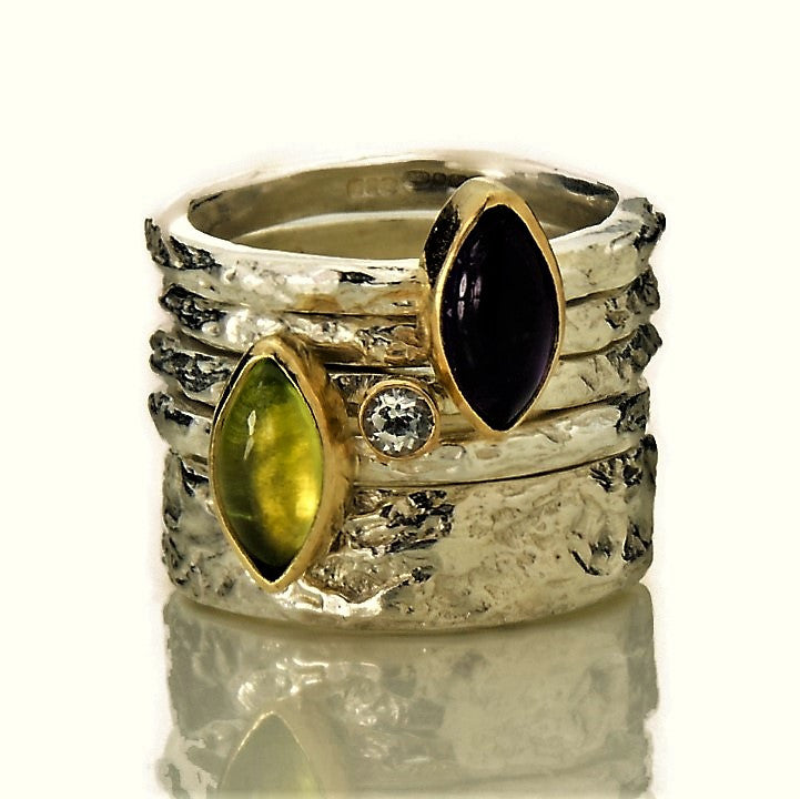 handmade onyx peridot and diamond textured treasure silver and gold rings