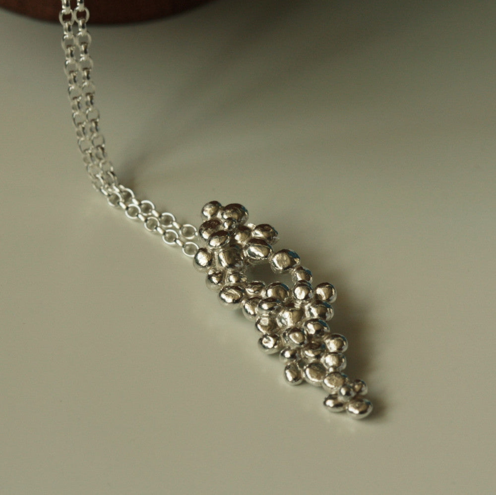 designer silver pebble necklace