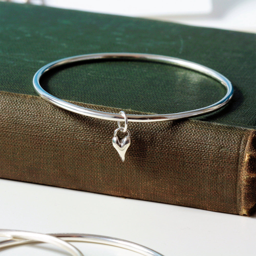 handmade silver heart bangle