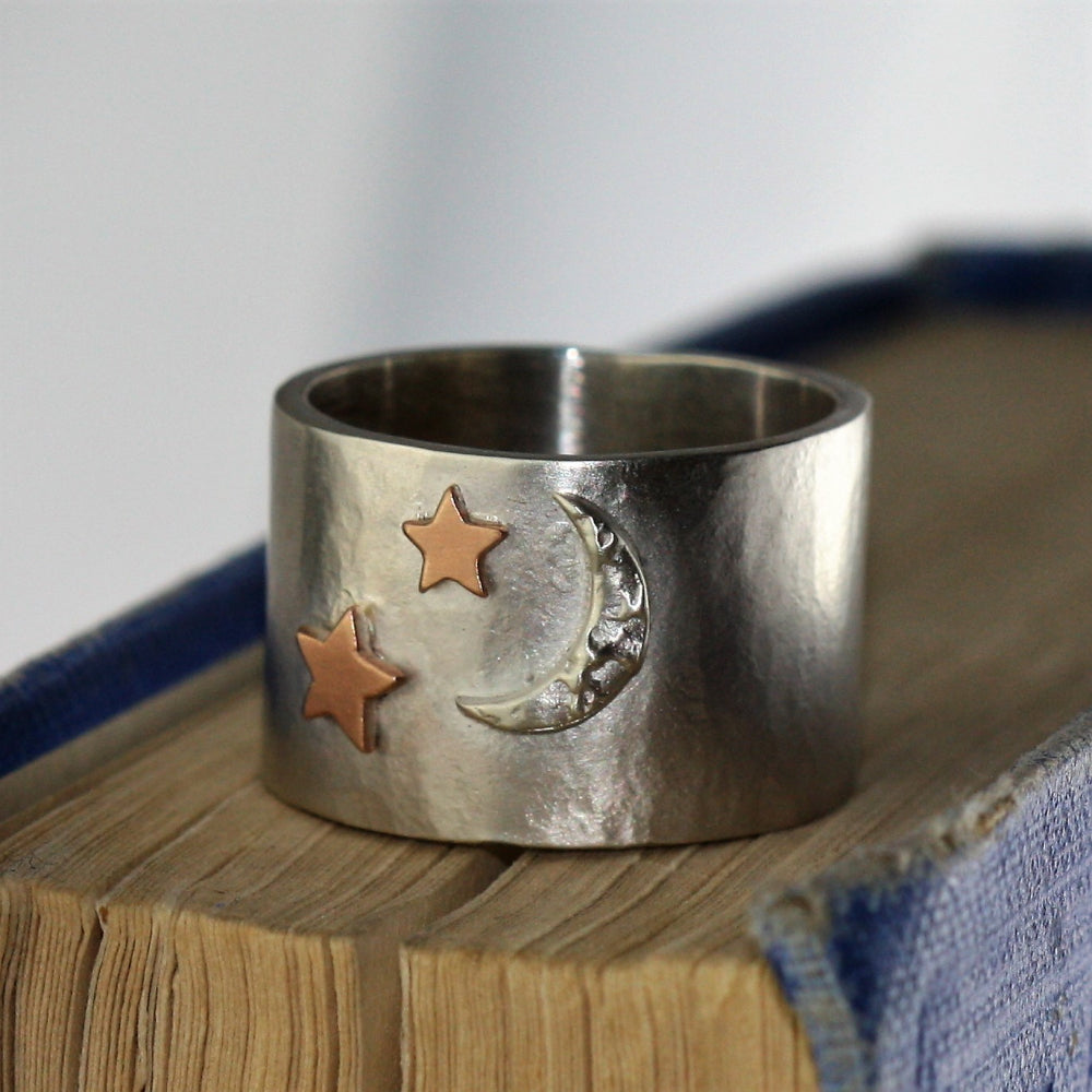 sterling silver moon and stars wide ring