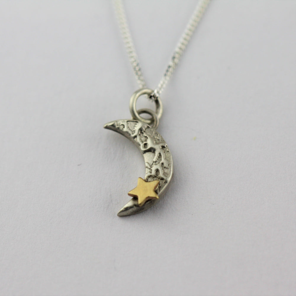 Luna textured moon and 9ct gold star necklace