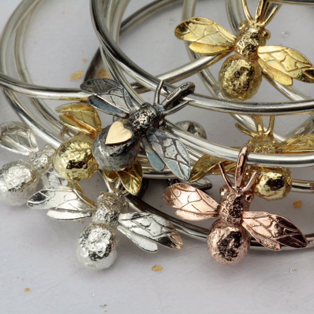 gold, rose gold bee bangle