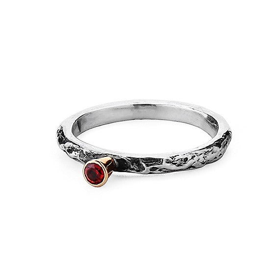 Single Garnet Gemstone Textured silver and gold ring band