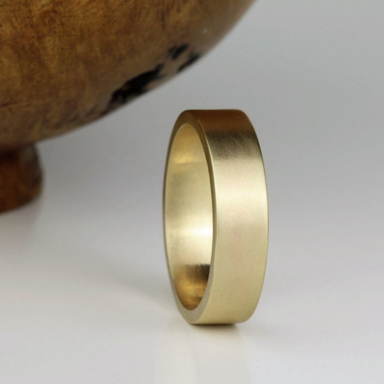 designer gold handmade wide wedding ring band