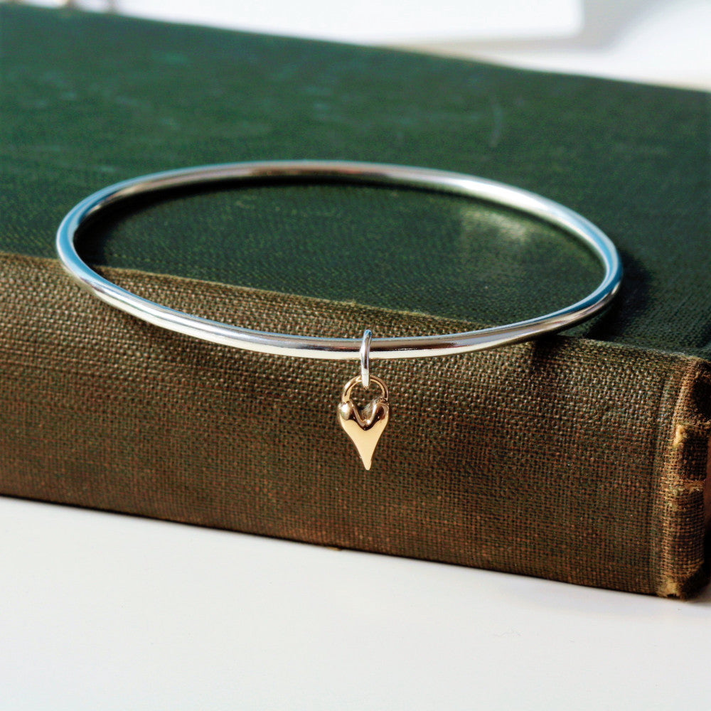 handmade gold heart bangle