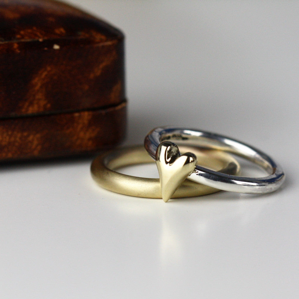 solid handmade gold wedding ring & Wild at Heart ring