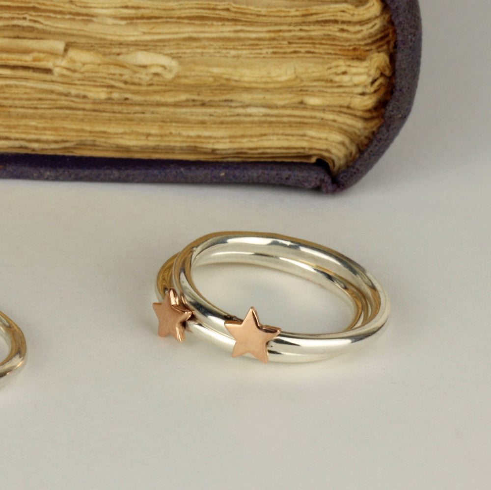 Gold star and sterling silver ring band