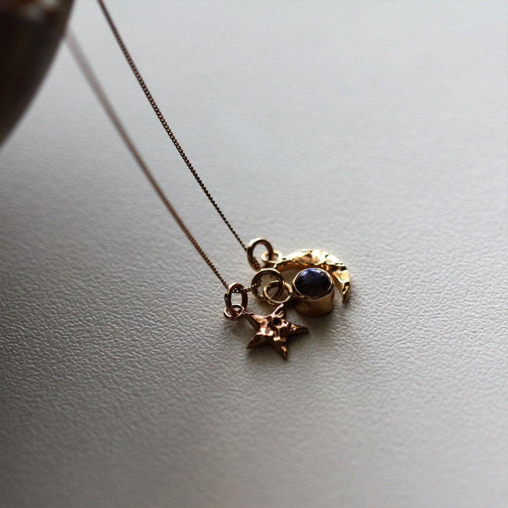 Dainty universe solid gold charm necklace