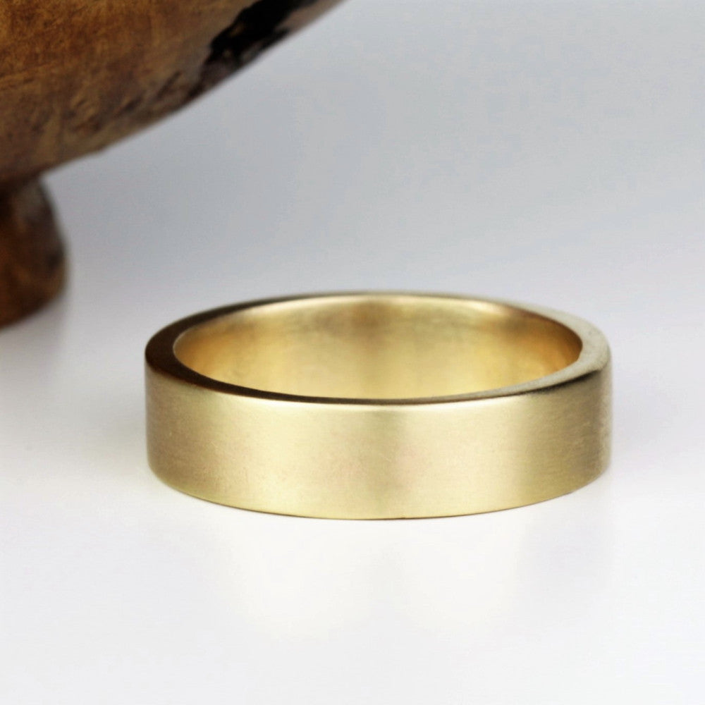 Super Mens Wide Solid Gold Wedding Ring Band 6mm - pretty-wild-jewellery IA13