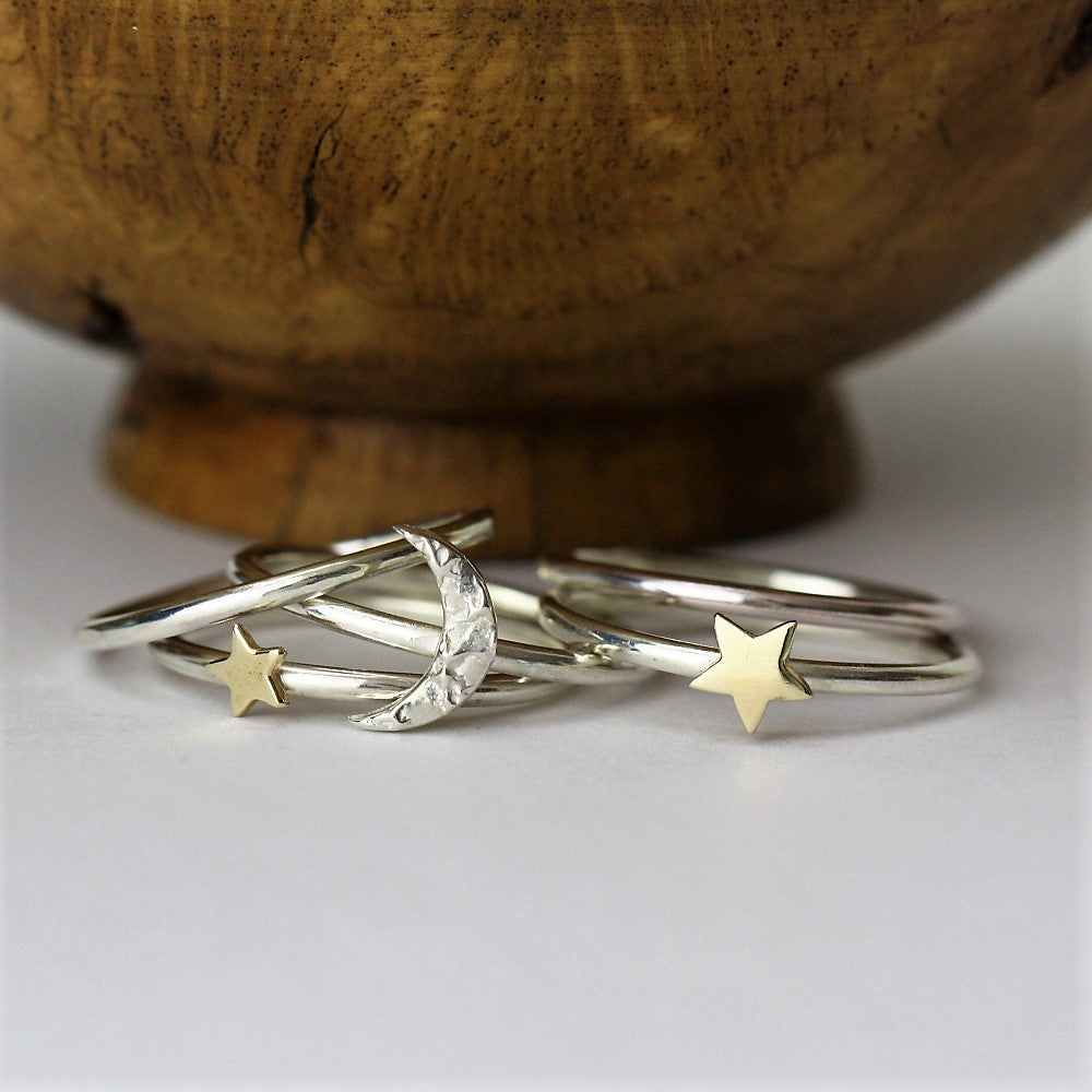 Moon and gold stackable silver rings