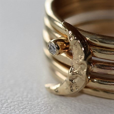 textured gold moon and diamond star handmade stacking rings