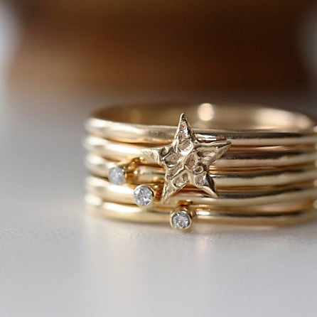 designer universe gold star and diamond stacking rings