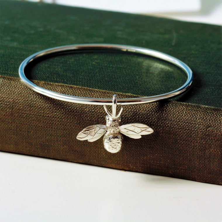 handmade sterling silver bumble bee bangle