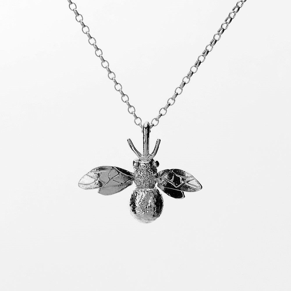 Handmade sterling silver bumble bee necklace