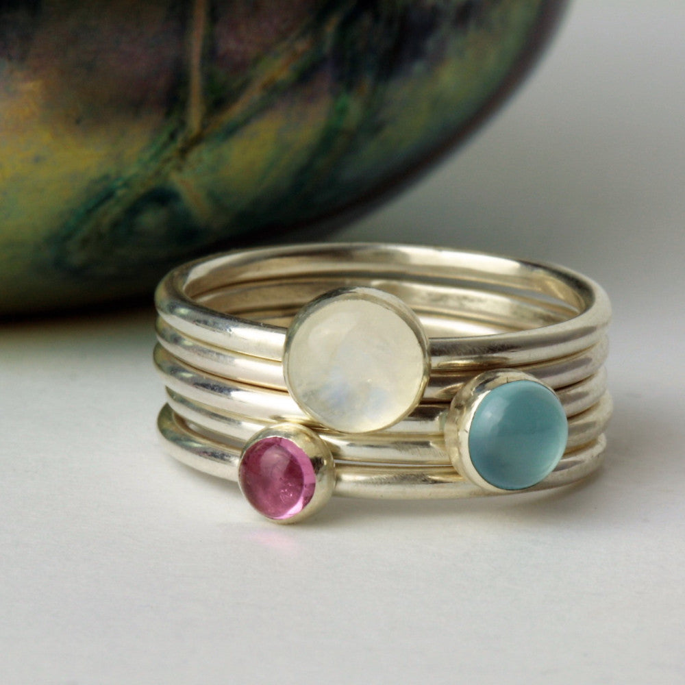 Moonstone sterling silver handmade stacking rings