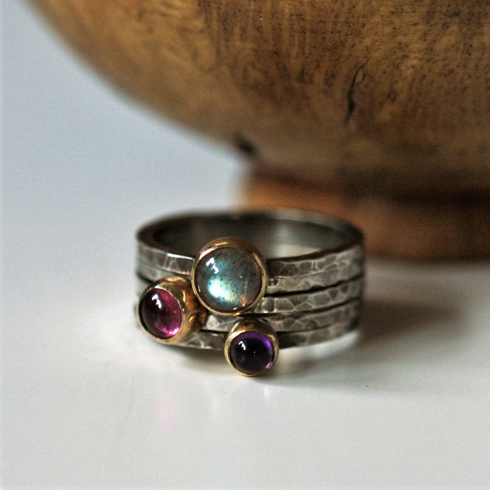 Silver and gold mixed metal blossom gemstone stacking rings