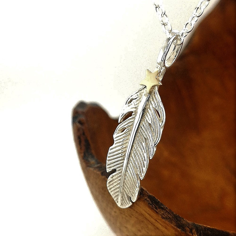 Divine angel feather and gold star necklace