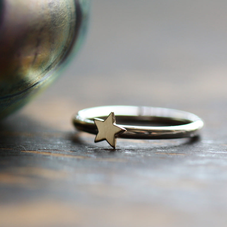 9ct solid gold star and silver stacker ring