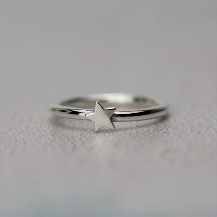 Star Stackable Silver Ring