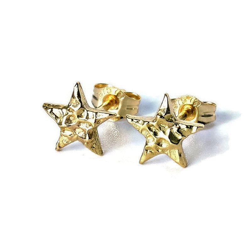 Textured Gold or Silver Star Studs
