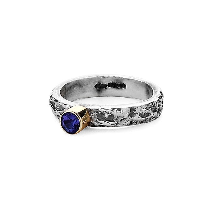 Tanzanite oxidized textured silver and gold ring band