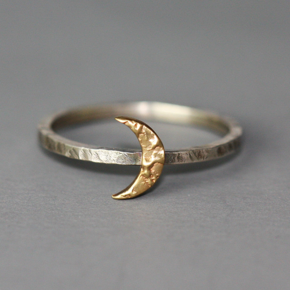 rustic gold handmade moon ring