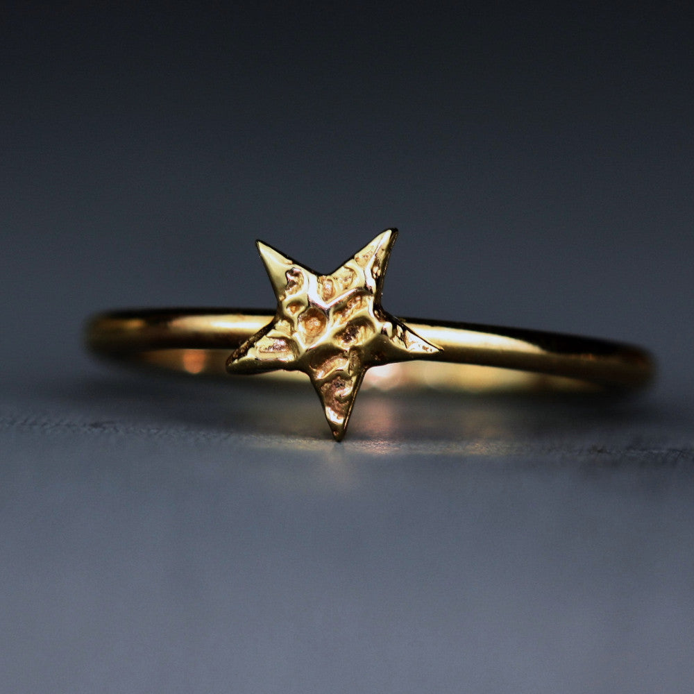 solid gold 9ct textured star stacking ring