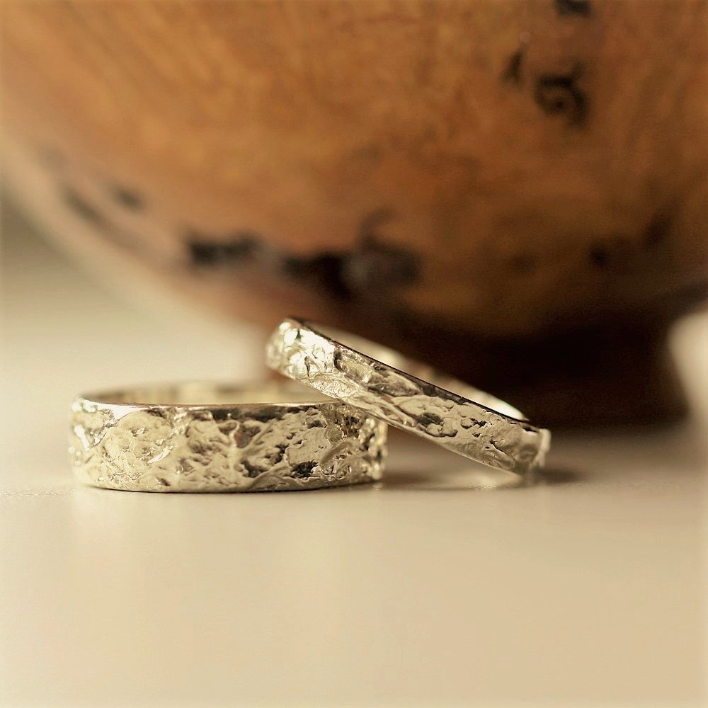 Matching Solid Gold Textured Ring Bands