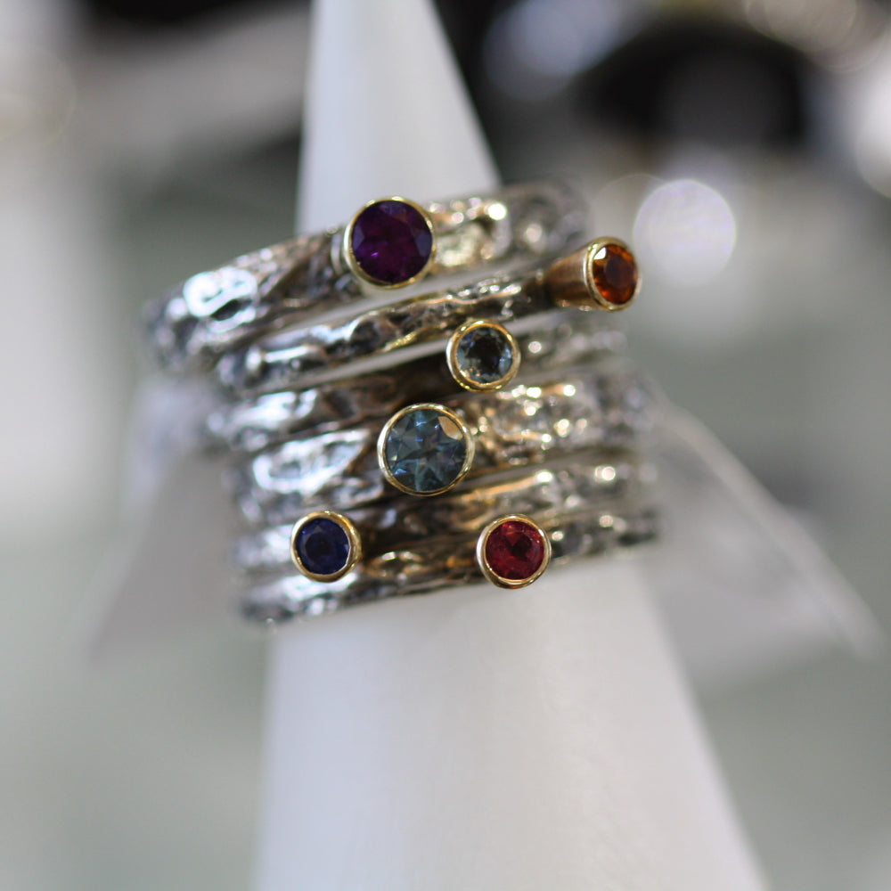 Artisan sterling silver stackable rings