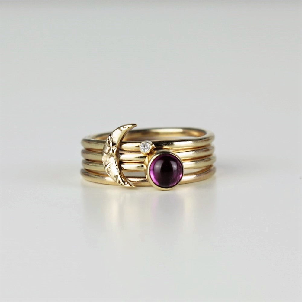 Universe solid gold textured moon and Wildflower Pink Tourmaline diamond Midi Stacking rings