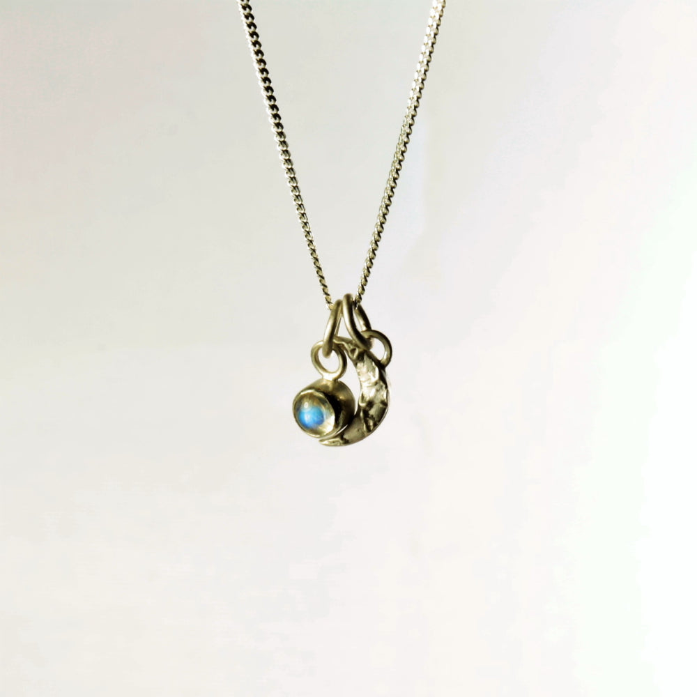 Mini textured moon charm necklace featuring Moonstone