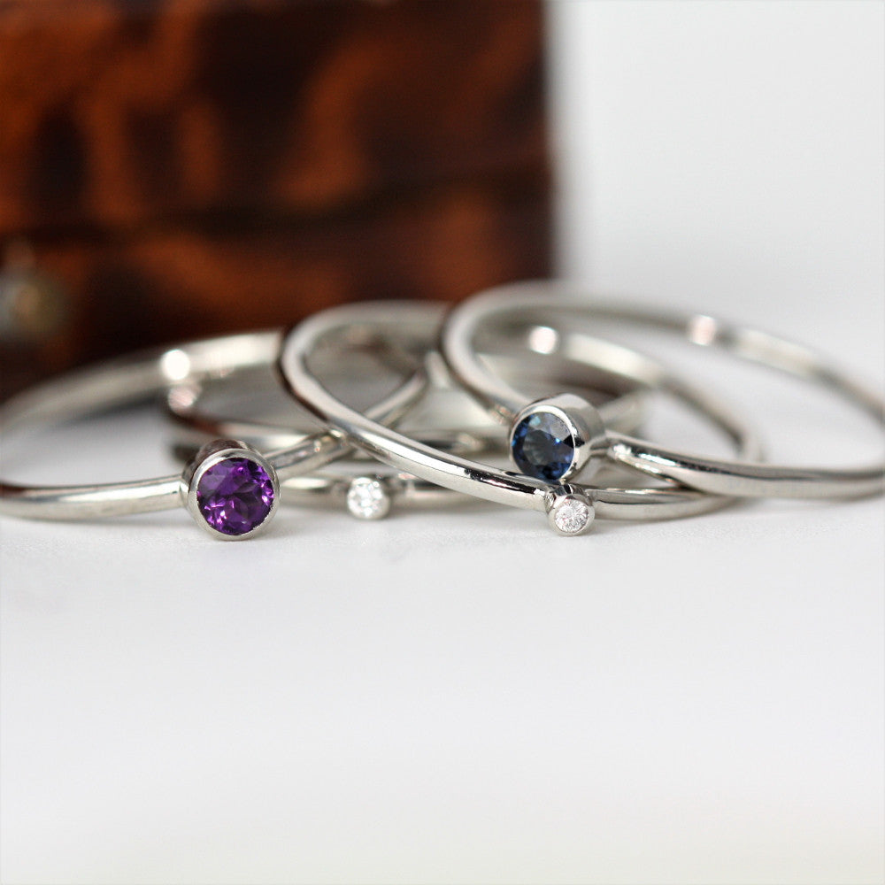 Platinum Gemstone and Diamond Stacker rings