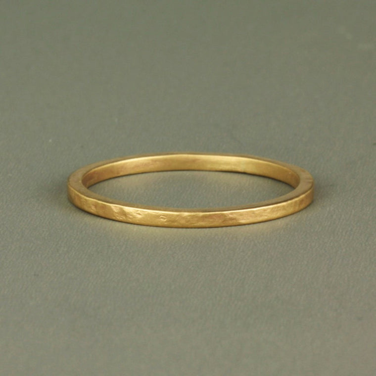 Skinny organic 9ct gold textured ring band
