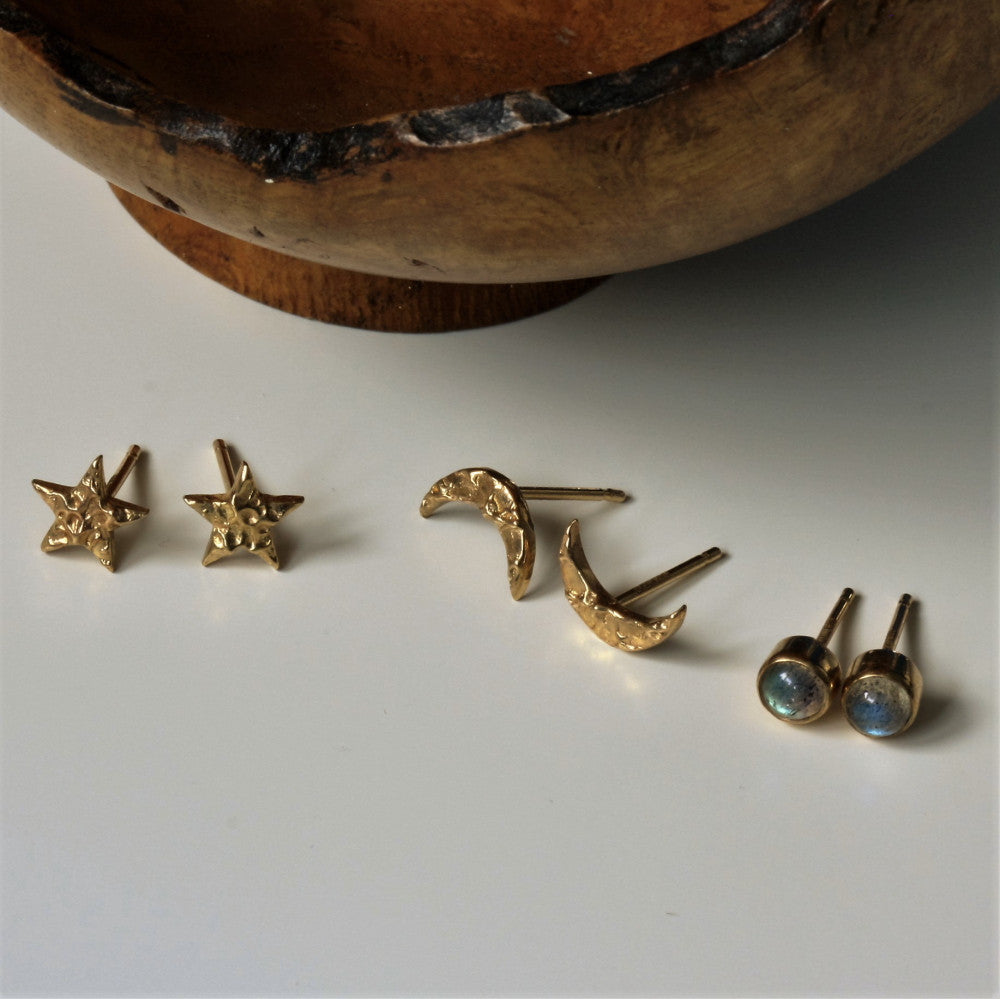 designer gold universe star, moon and magical labradorite studs