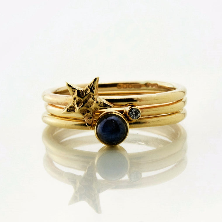 unusual 9ct solid gold labradorite diamond and star stacking ring