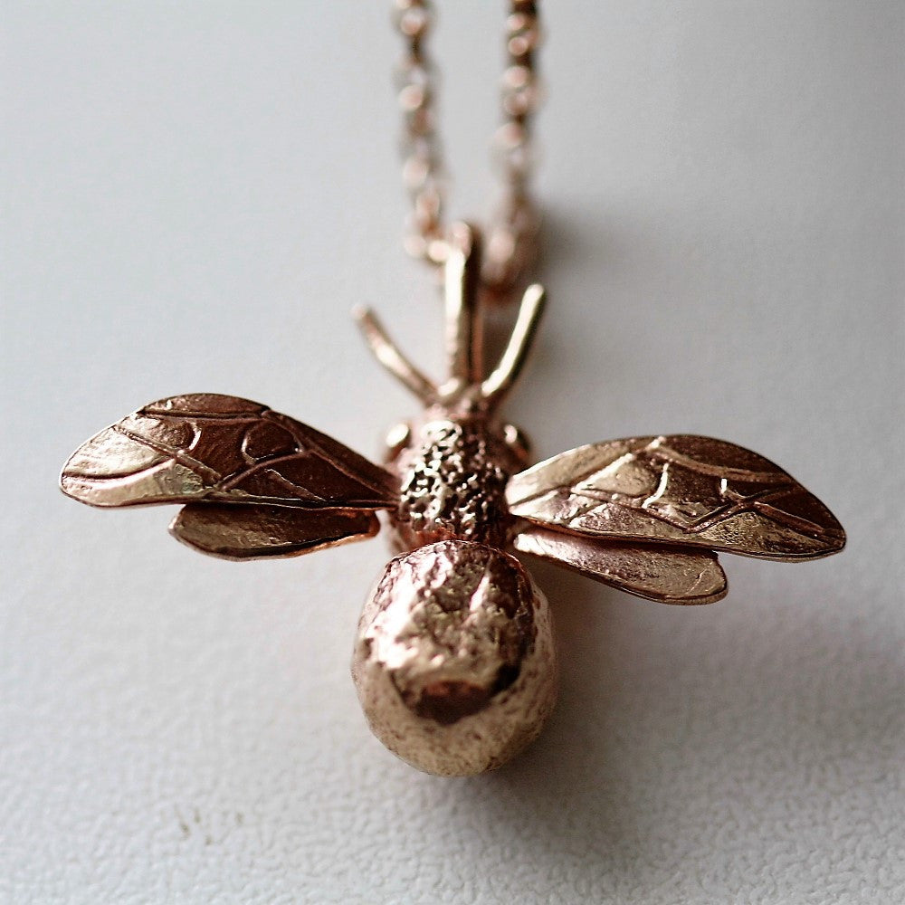 Rose gold handmade designer honey bee necklace