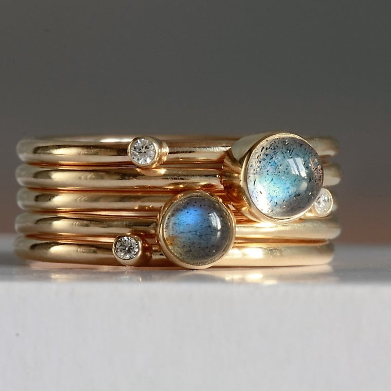universe rose gold galaxy diamond and labradorite stacking rings