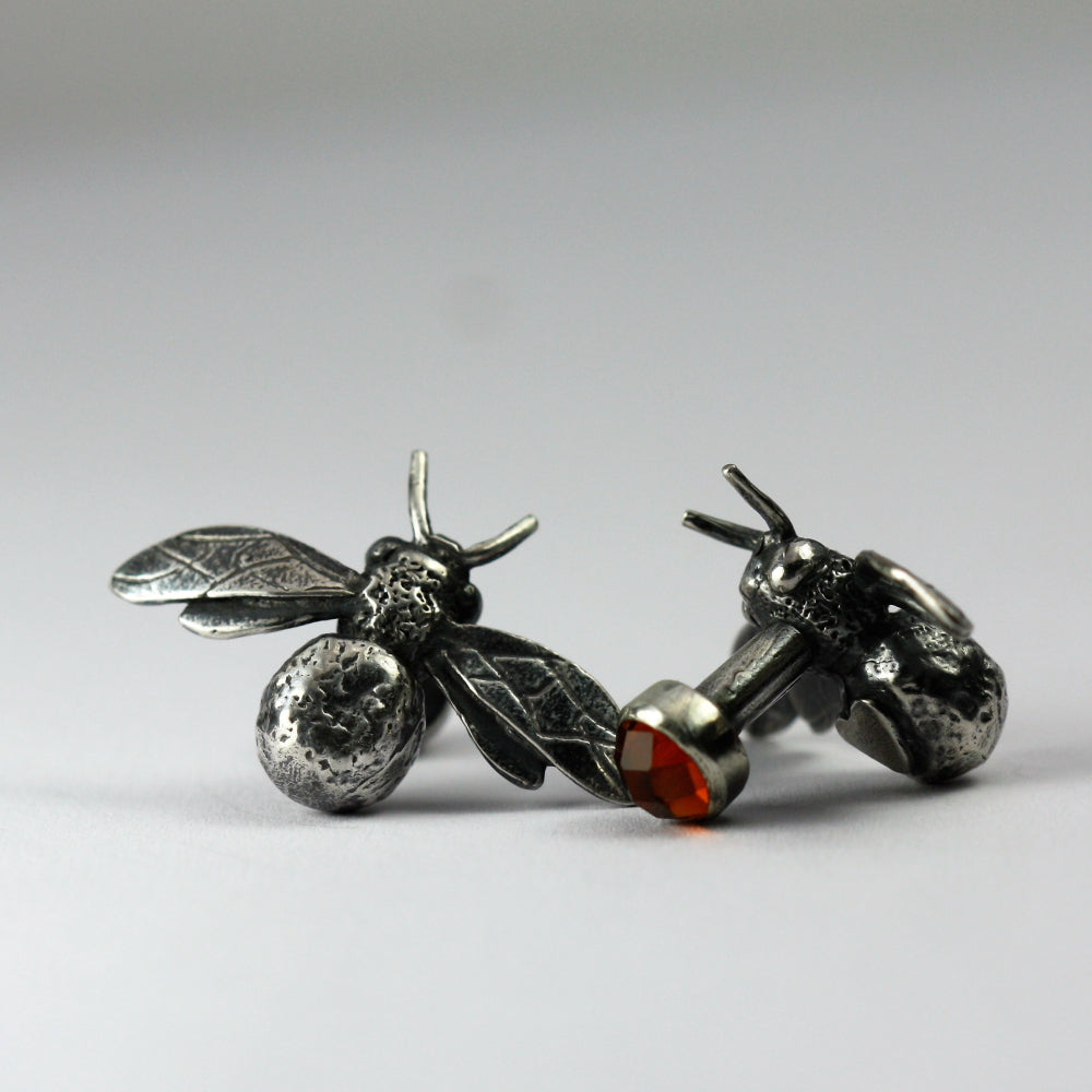 Citrine and bee silver handmade cuff links