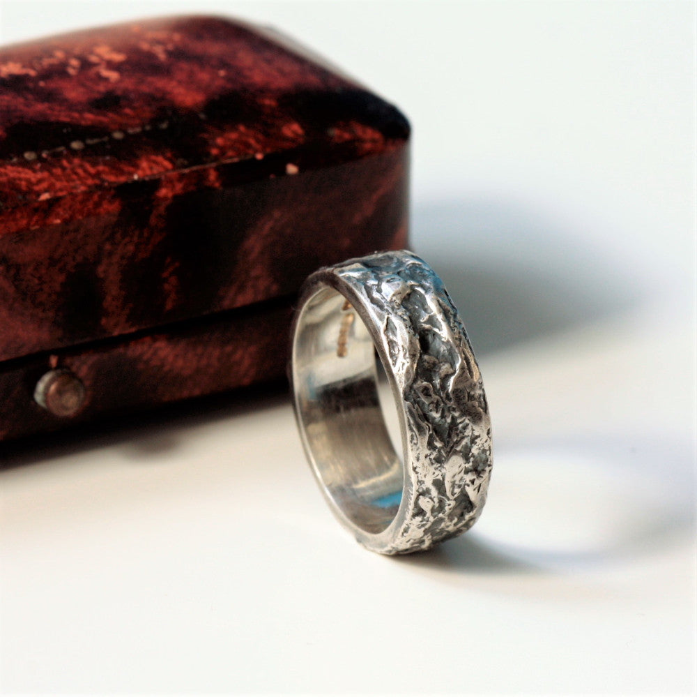 unique designer textured wide silver oxidized mans ring