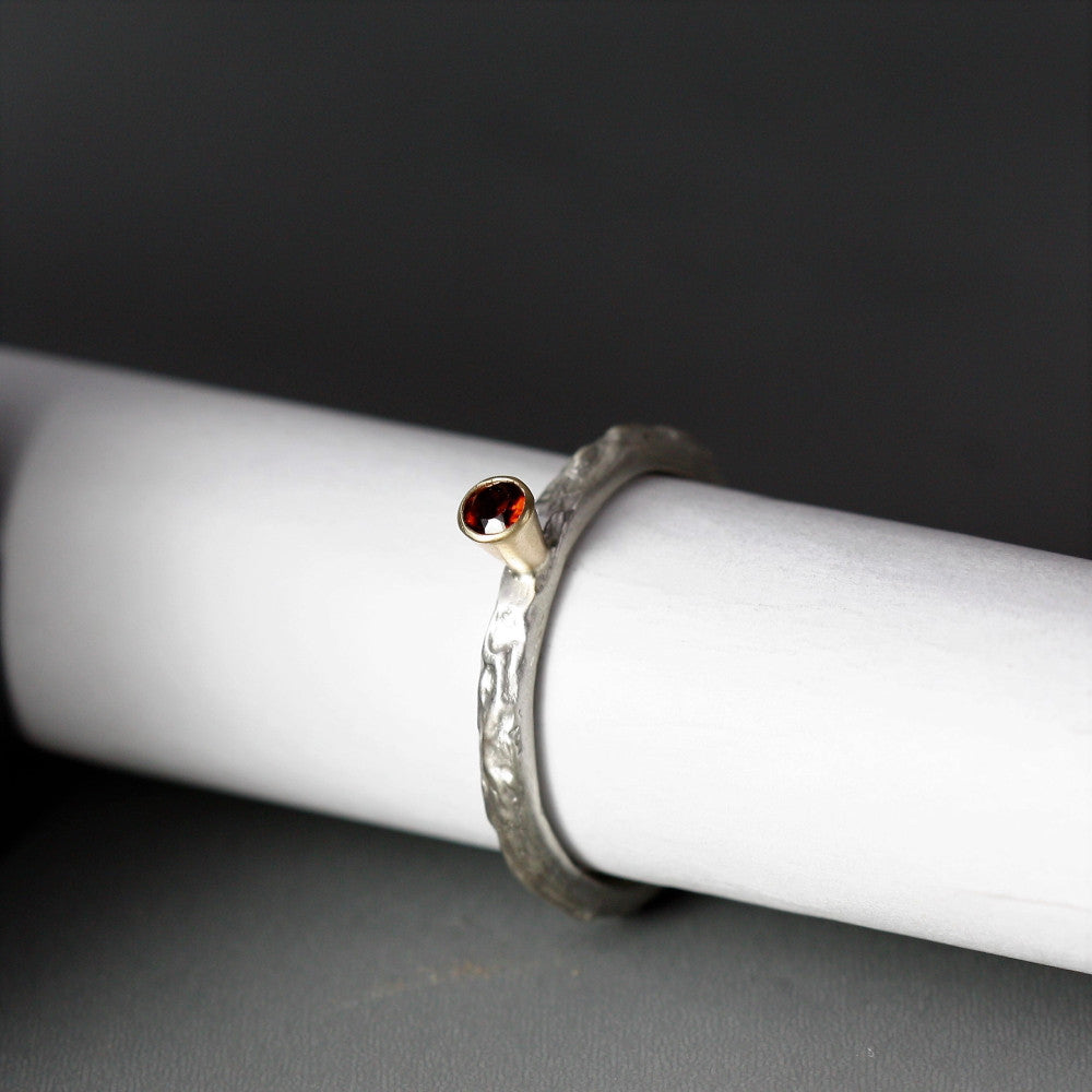 Ruby July birthstone silver and gold textured ring