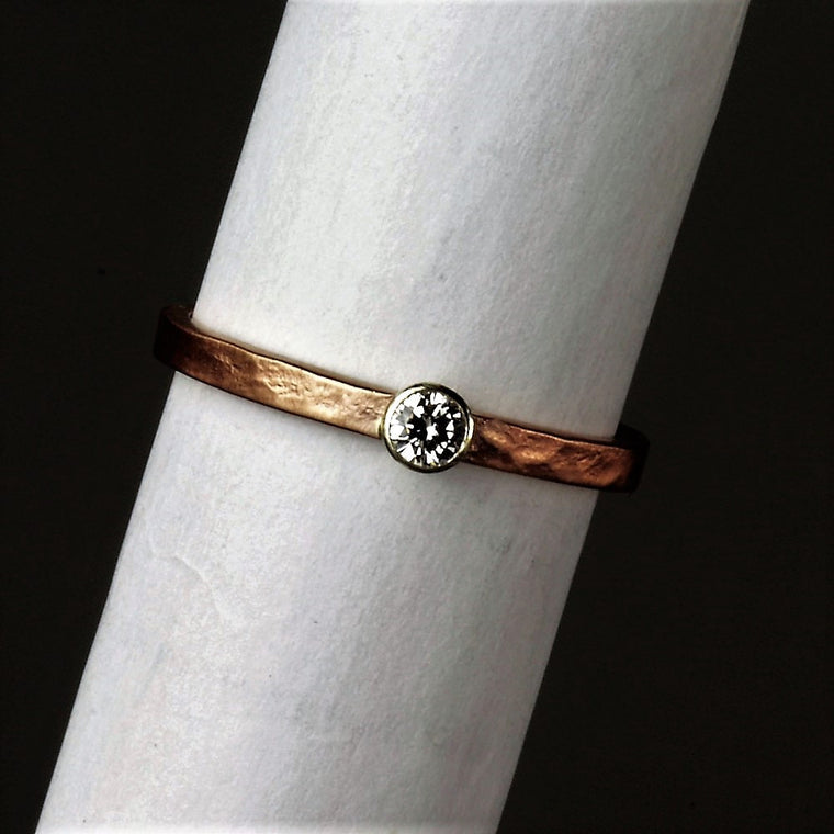 White gold & Rose gold Diamond rustic engagement ring