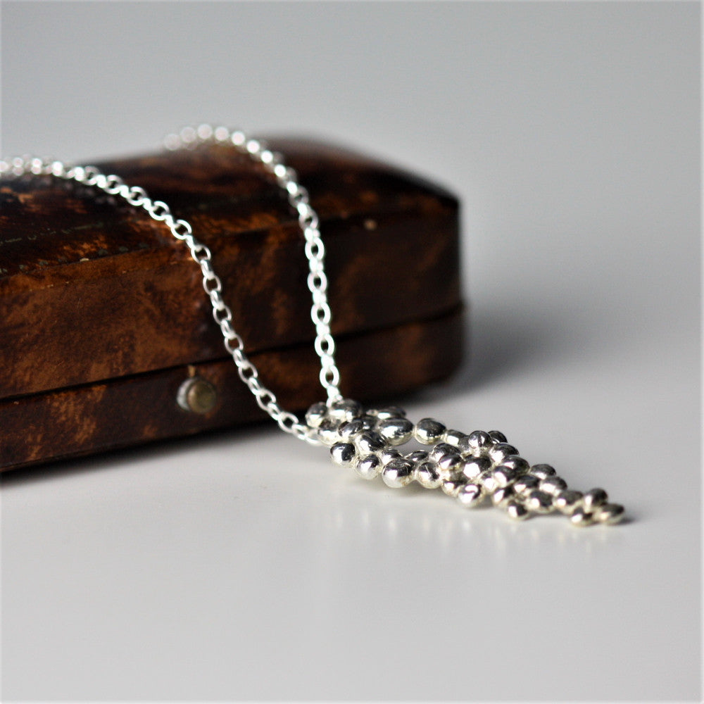 unique silver pebble necklace