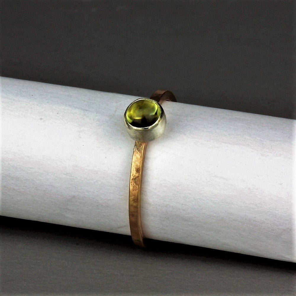 Peridot handmade silver and gold blossom stackable ring